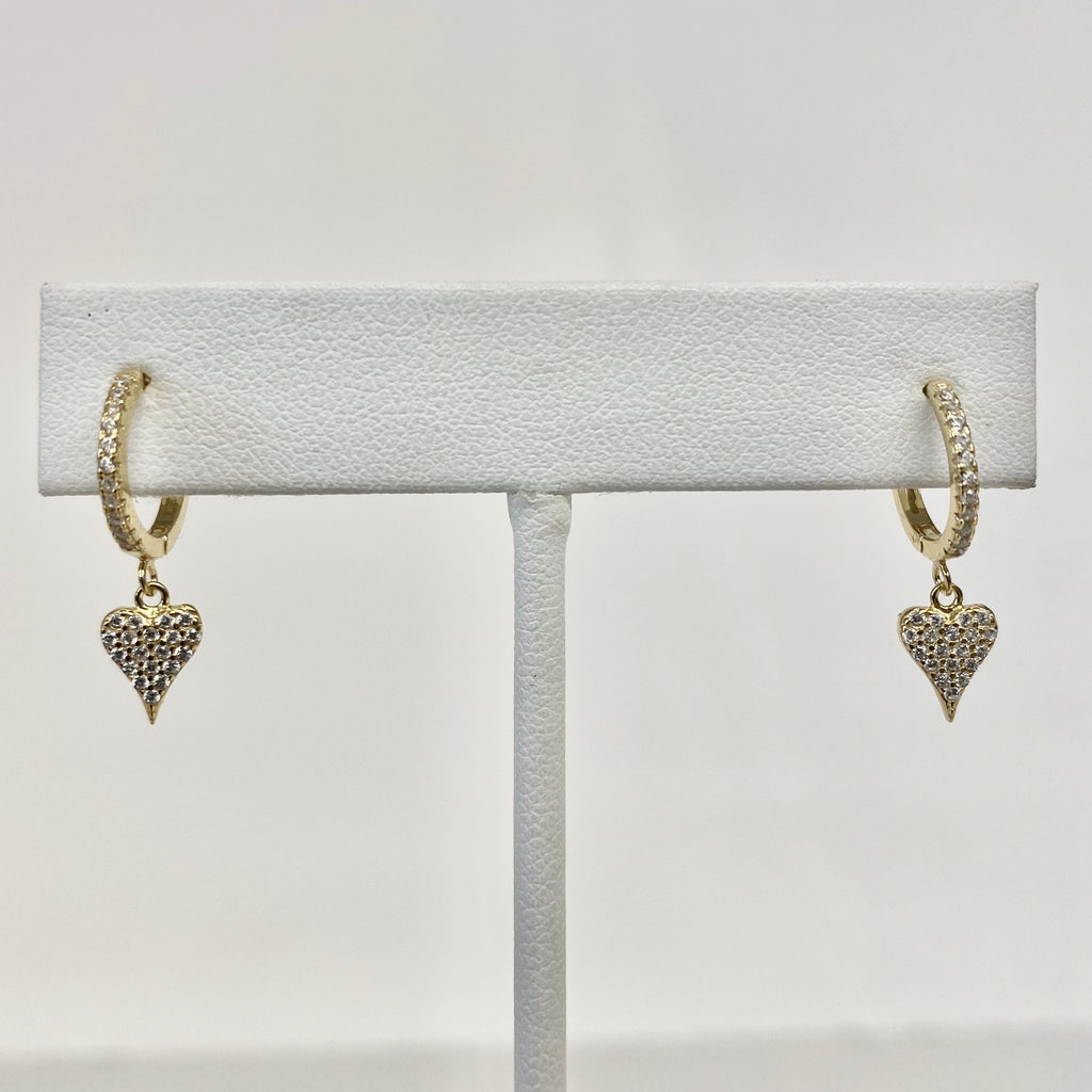 Pave Huggies With Dangling Heart