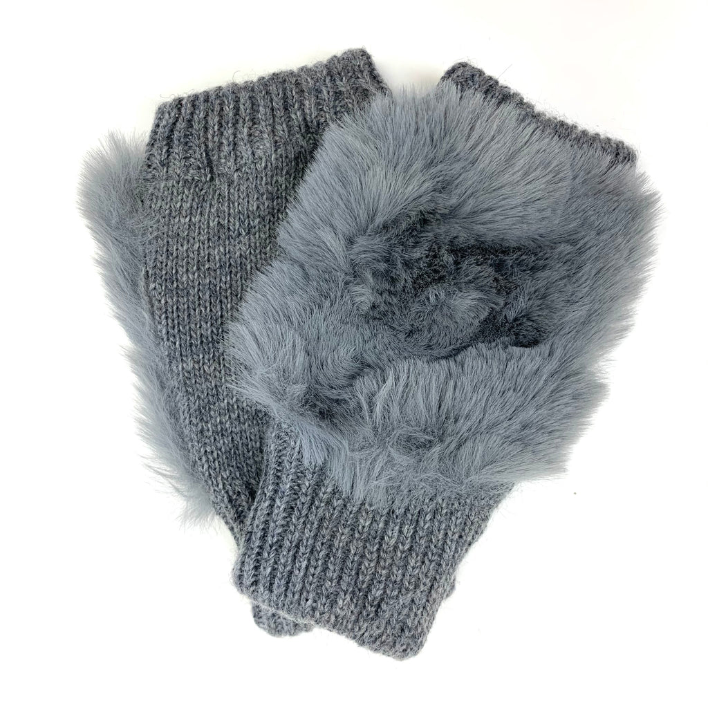 Faux Fur Fingerless Knit Gloves