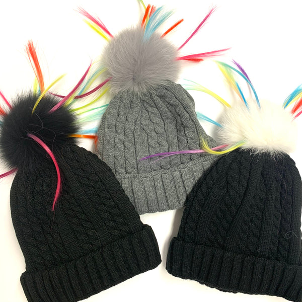 Cable Knit colorful  Fox fur Pom Hat