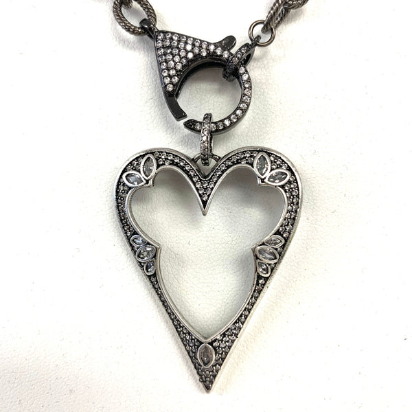 Art Deco Open CZ Heart Pendant