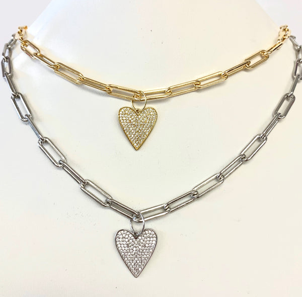 Paperclip Necklace With Pave CZ Heart