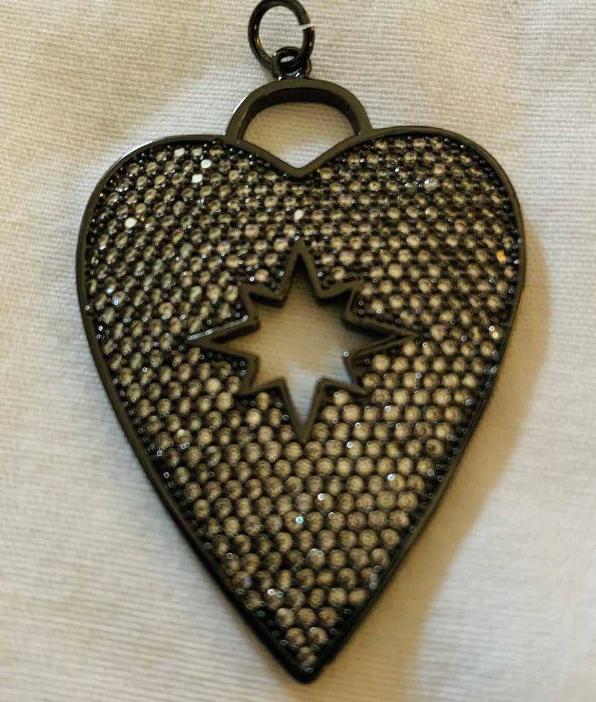 Heart Charm with Starburst in Center