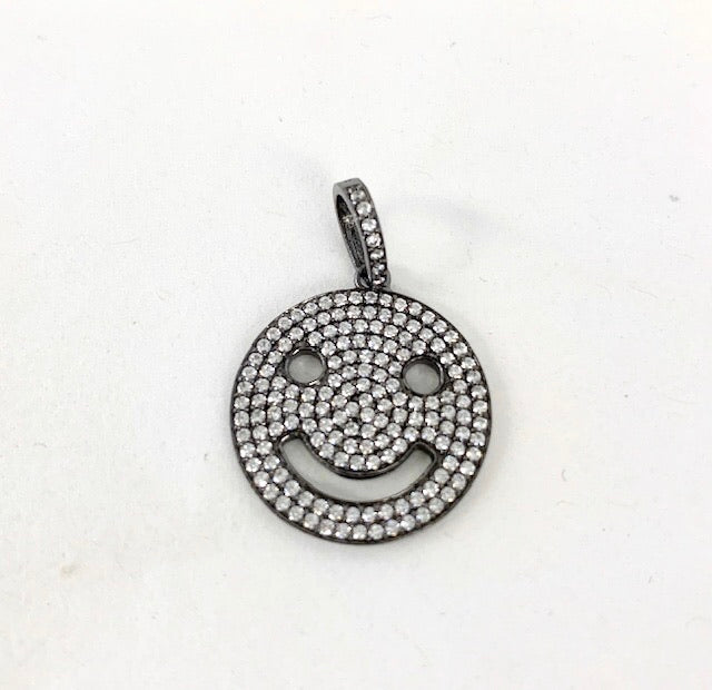 Sterling Silver Hematite Pave Smiley Face Charm