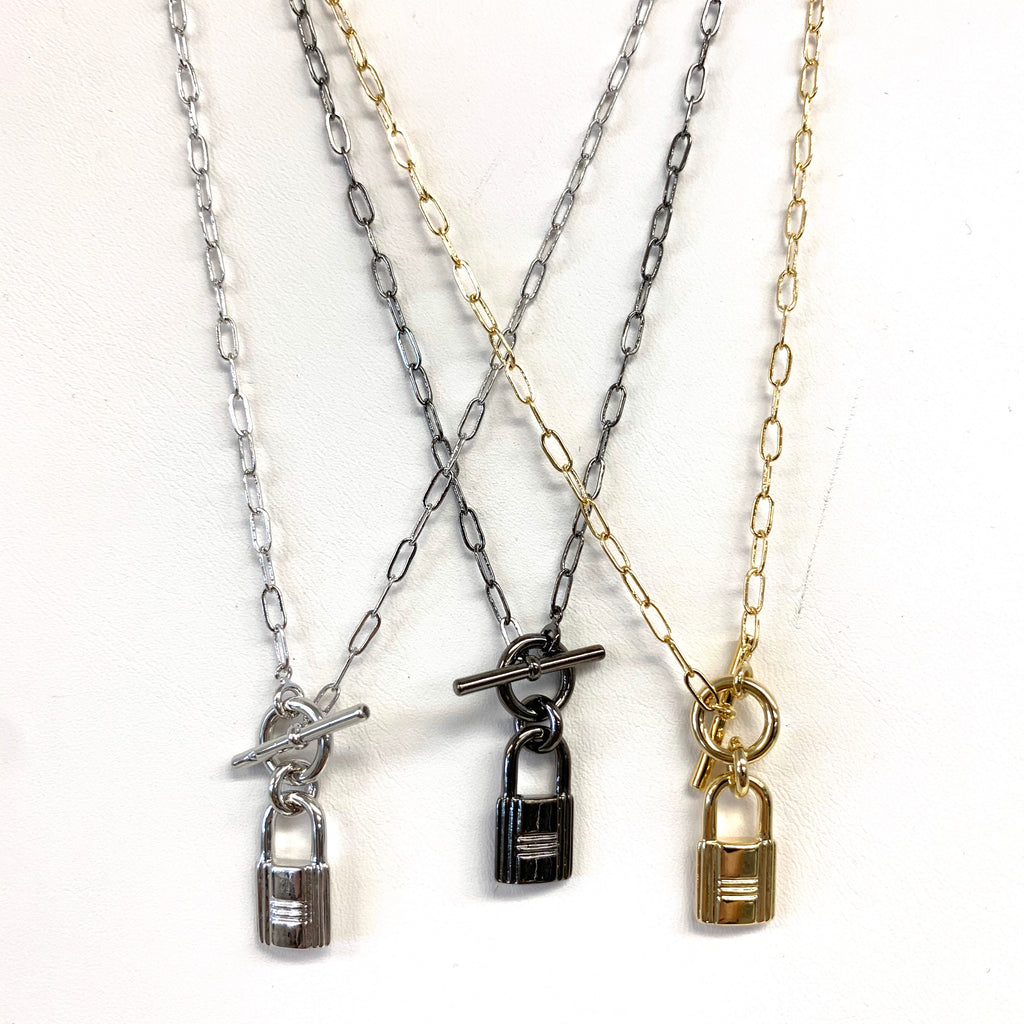 Gold Lock Toggle Necklace