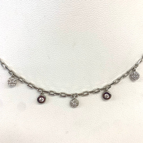 Paperclip Choker Necklace w Pave and CZ'S
