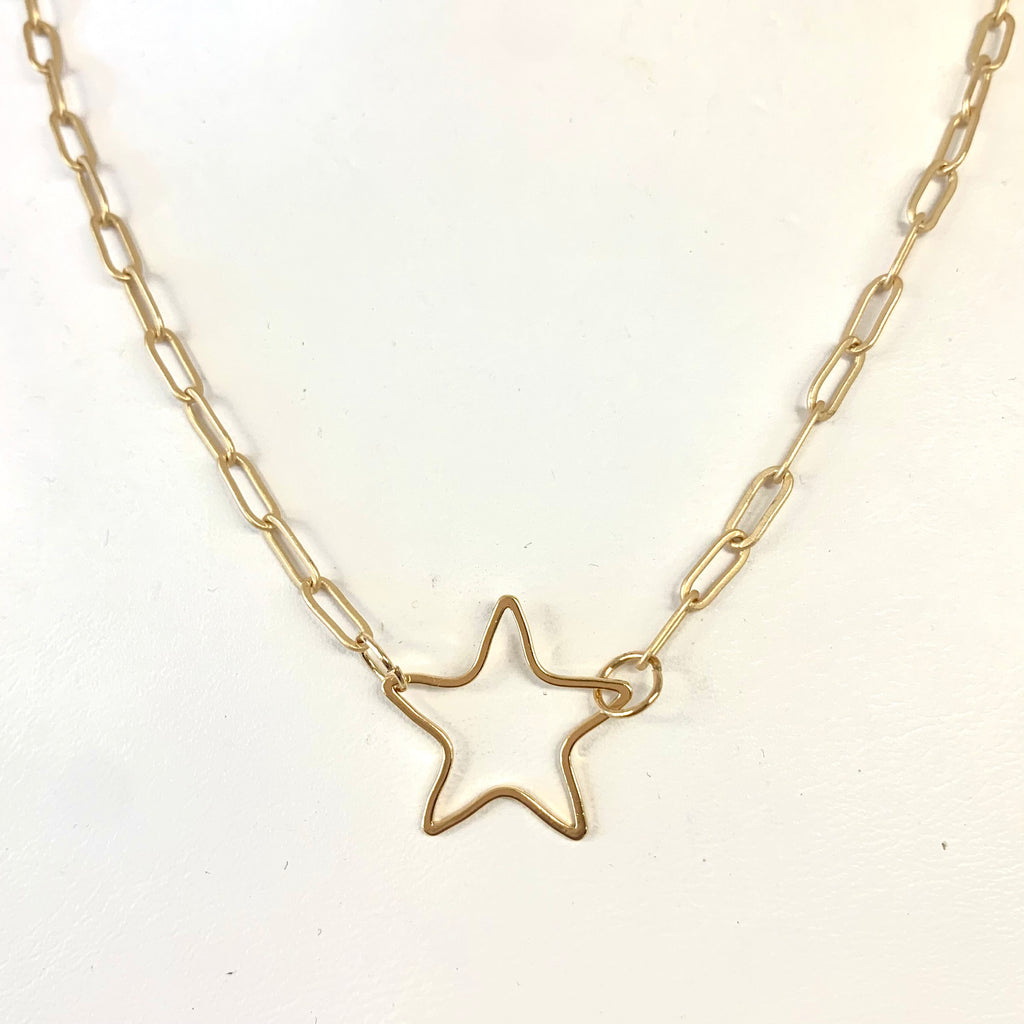 Open Star Paper Clip Necklace