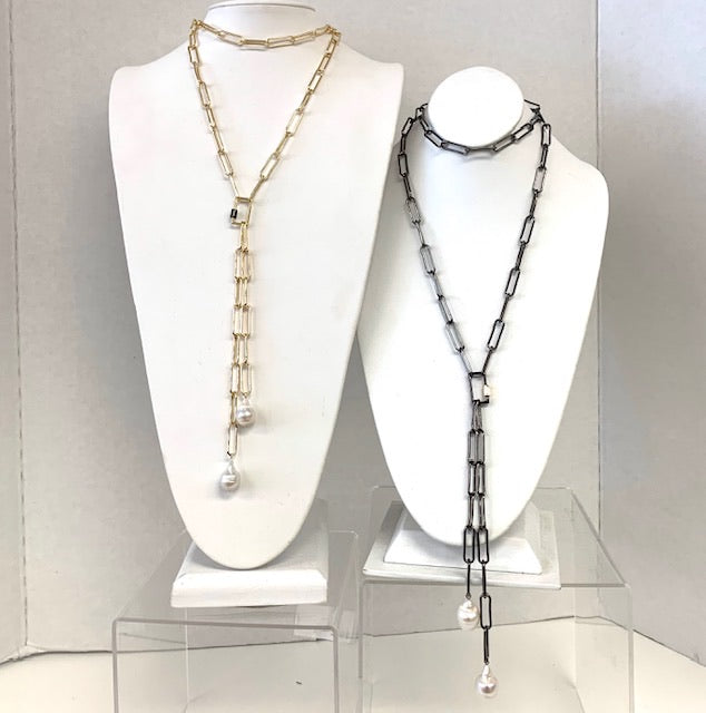 Long Link Chain Necklace With Fresh Water Pearls