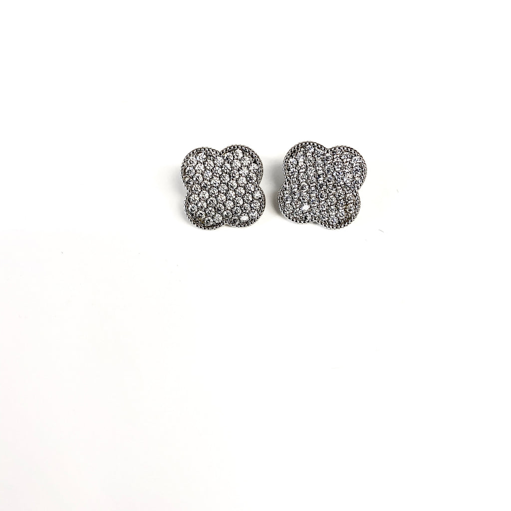Extra Large Silver Pave Clover Earrings
