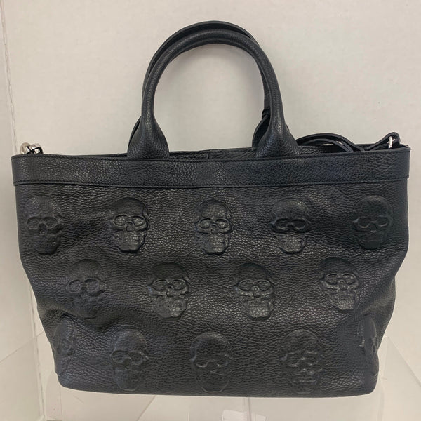 Genuine Leather Embossed Skull Satchel