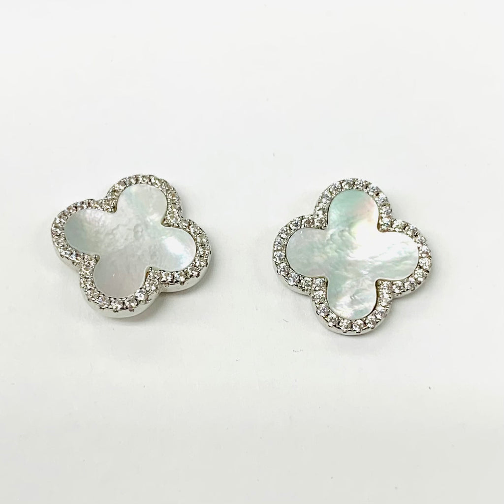 Large Pave Clover Earrings
