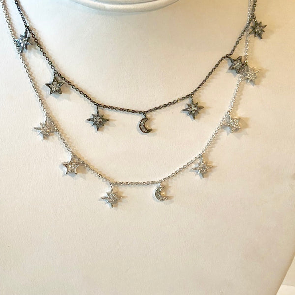 Necklace with Pave Starbursts, Stars and a Moon