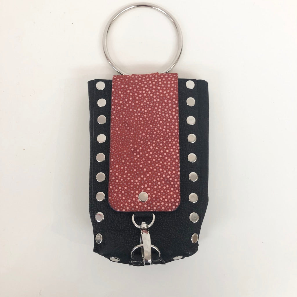 Leather Studded Bangle Cellphone Wristlet or Crossbody Bag