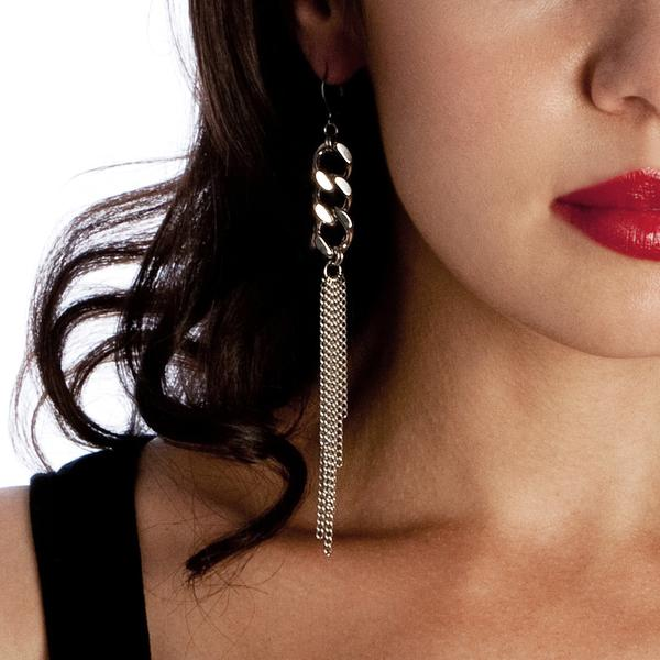 Metal Long Fine vs Chunky Chain Earrings by Rapt in Maille