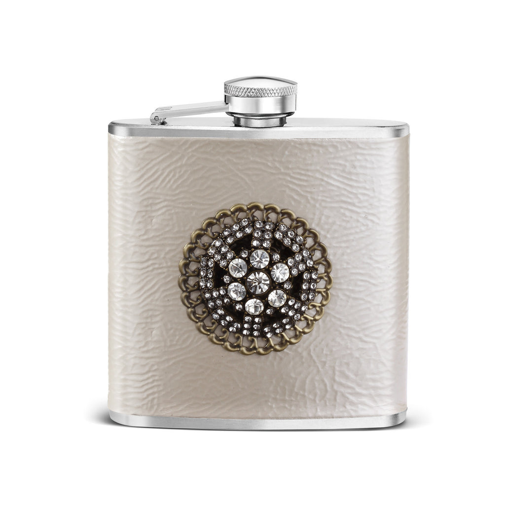 Leather and Crystal Embellished Flask
