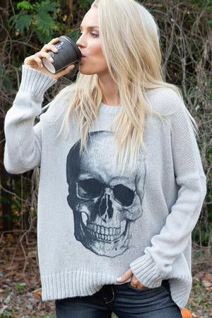 Light Grey Oversized Skull Sweater