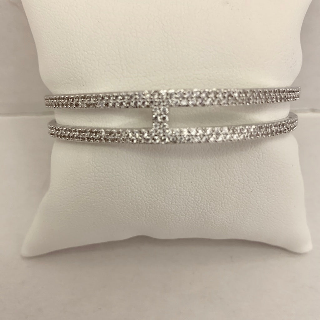 Pave Double Row Bangle with Row in Center