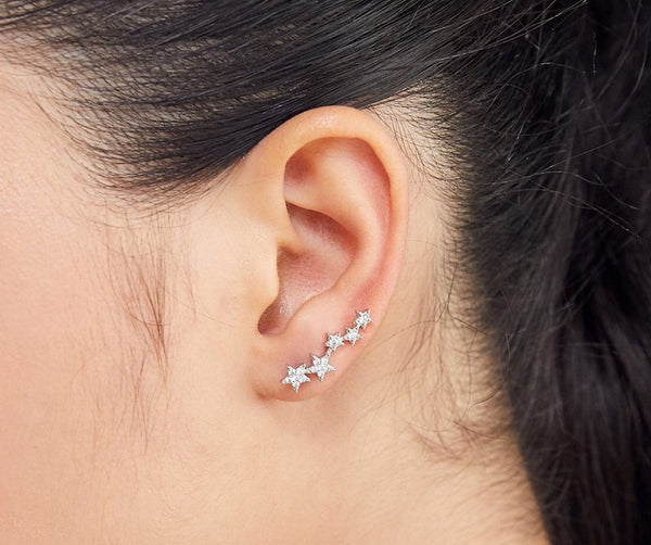 Cz Star Climber Earrings