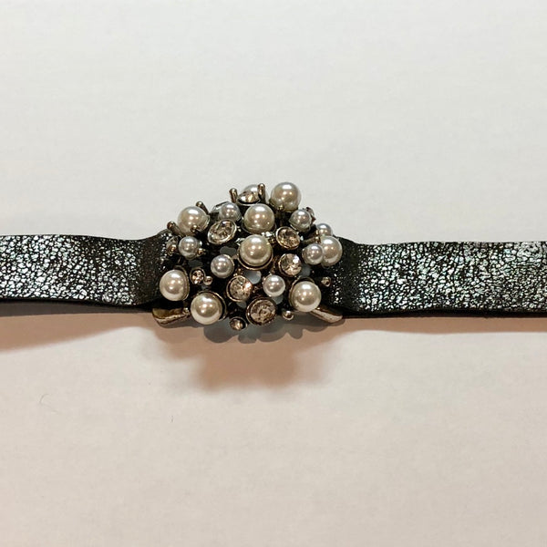 Pearls and Crystals Leather Bracelet