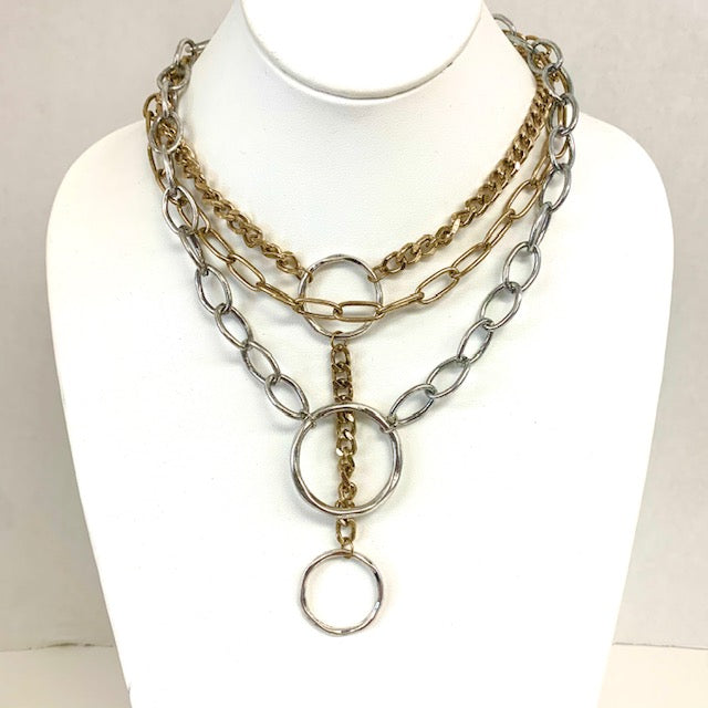 Chains with Silver Circle Drops Short Necklace