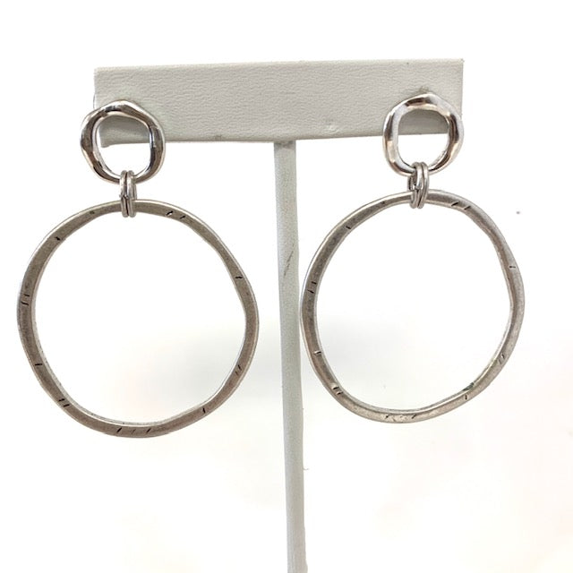 Hammered Circle Post Earrings