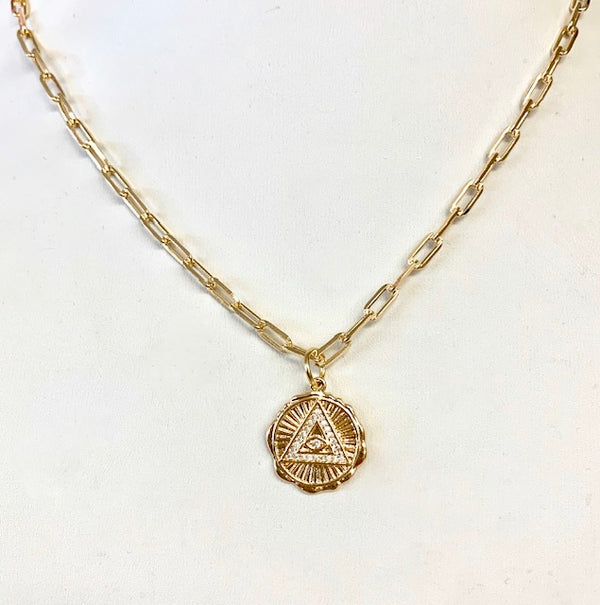 Small Gold Link Chain with Decorative Disc Charm