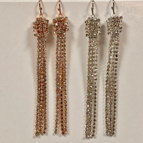 Crystal Barrel Earring with Tassels