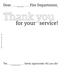 Printable Thank You card for firefighters