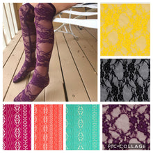 Load image into Gallery viewer, Vertical Lace Knee Highs