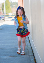 Load image into Gallery viewer, Fabulous Floral Denim Ruffle Shorts