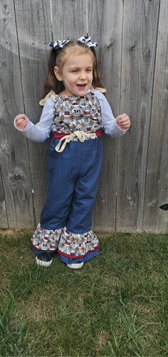 Country Christmas Ruffle Overalls