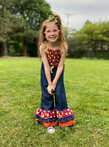 Apple Orchard Ruffle Overalls