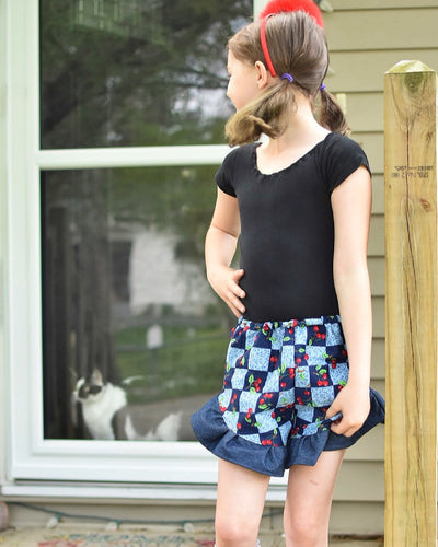 Cheery Cherry Denim Ruffle Shorts