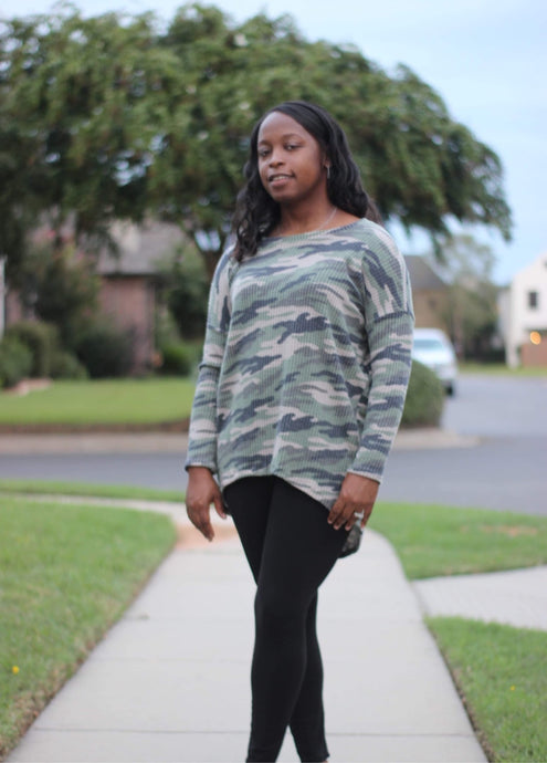 Muted Camo Ladie's Waffle Tunic