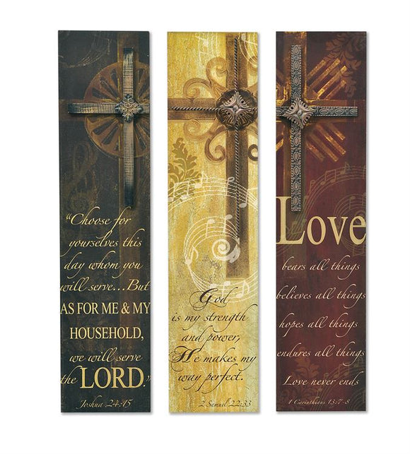 SENTIMENT WITH CROSS WALL PLAQUES, SET OF 3