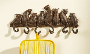 Cast Iron Cat Wall Hanging With 6 Hooks