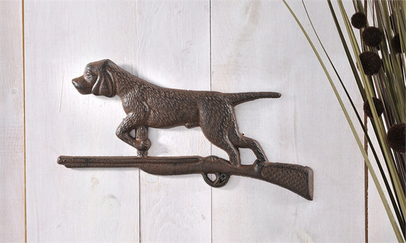 Cast Iron Hunting Dog With Shot Gun Wall Decor