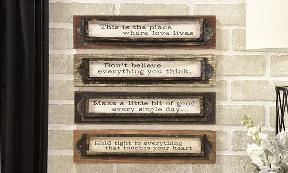 CEDAR WOOD WALL PLAQUES WITH SENTIMENT SAYINGS, SET OF 4