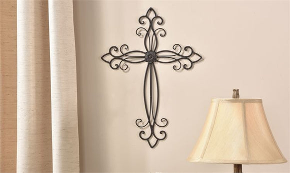 Sculpted Mahogany Iron Wall Cross