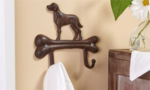 CAST IRON DOG BONE DESIGN WALL HOOK