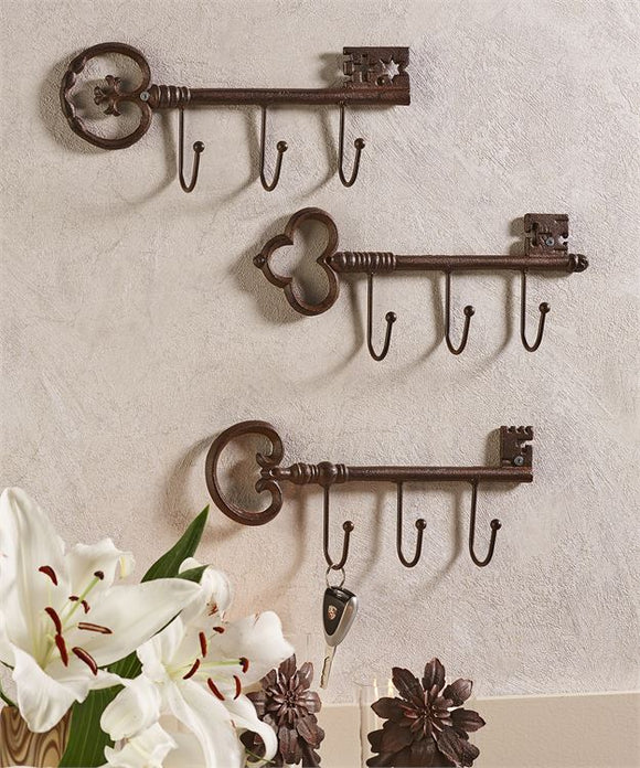 CAST IRON ANTIQUE KEY DESIGN WALL HOOK, 3 ASSORTED DESIGNS, CHOOSE 1
