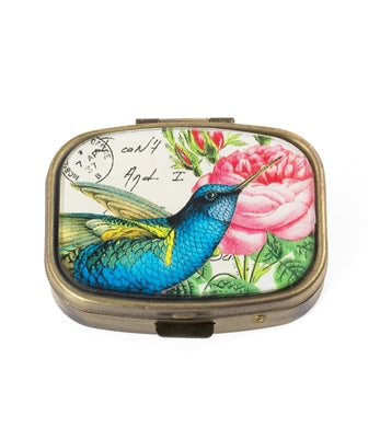 BLUE HUMMING BIRD PILL BOX