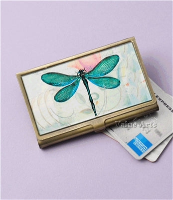 GREEN DRAGONFLY PRINTED CARD CASE