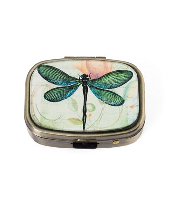 GREEN DRAGONFLY PRINT PILL BOX
