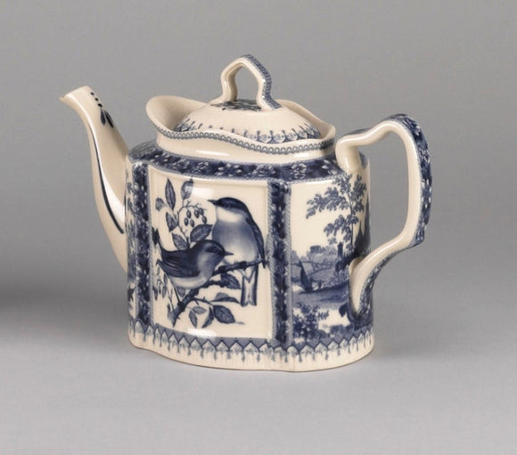 BLUE & WHITE 10 INCH TEAPOT WITH BIRD DESIGN