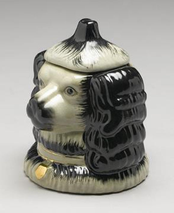 STAFFORDSHIRE REPRODUCTION BLACK SPANIEL DOG JAR