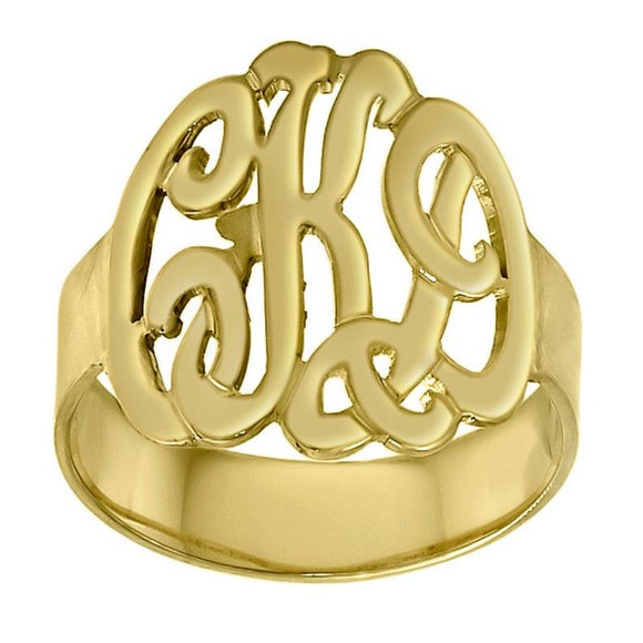 Monogram 14K Gold 5/8 Script Cutout Ring