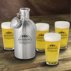 Personalized Stainless Steel Beer Growler with Pint Glass Set- 3 Beers Design