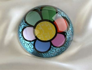 ROMERO BRITTO PAPERWEIGHT BLUE WITH FLOWER DESIGN