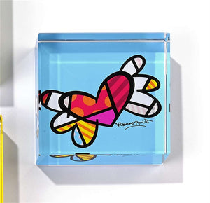 ROMERO BRITTO GLASS BLOCK PAPERWEIGHT- FLYING HEARTS DESIGN
