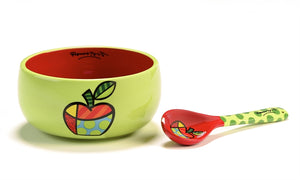 ROMERO BRITTO BOWL & SPOON- APPLE 2PC SET